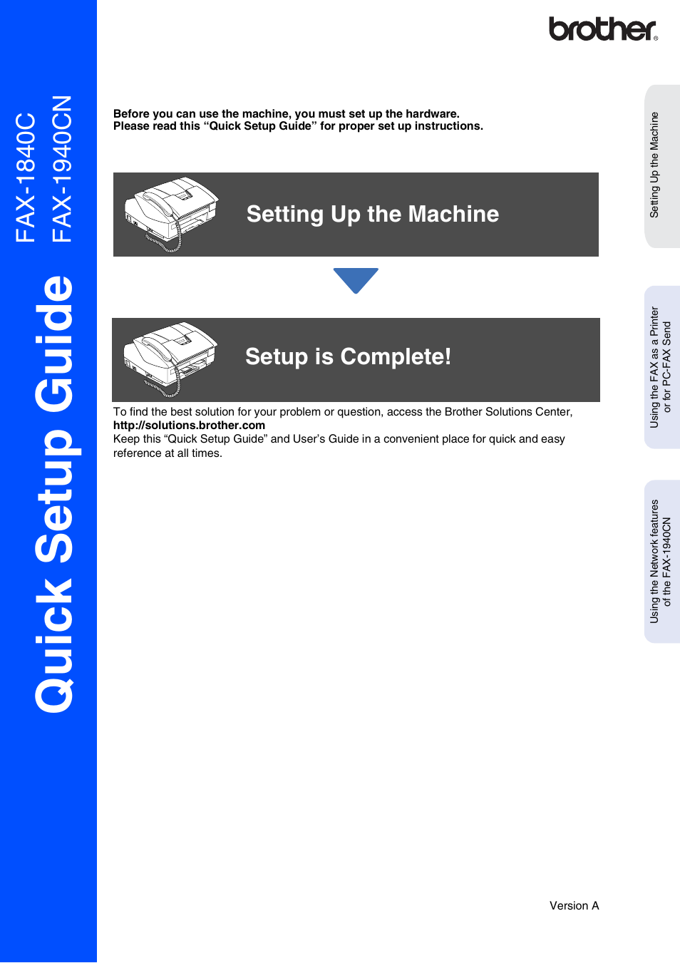 brother fax 1940cn user manual 18 pages also for fax 1840c rh manualsdir com brother quick setup guide mfc l2740dw brother quick setup guide mfc-j430w