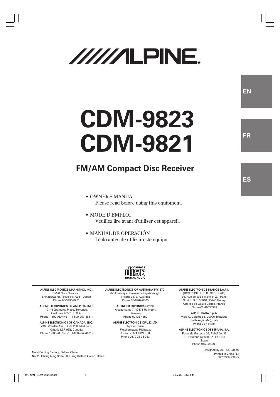 alpine cdm 9821 user manual 22 pages also for cdm 9823 rh manualsdir com