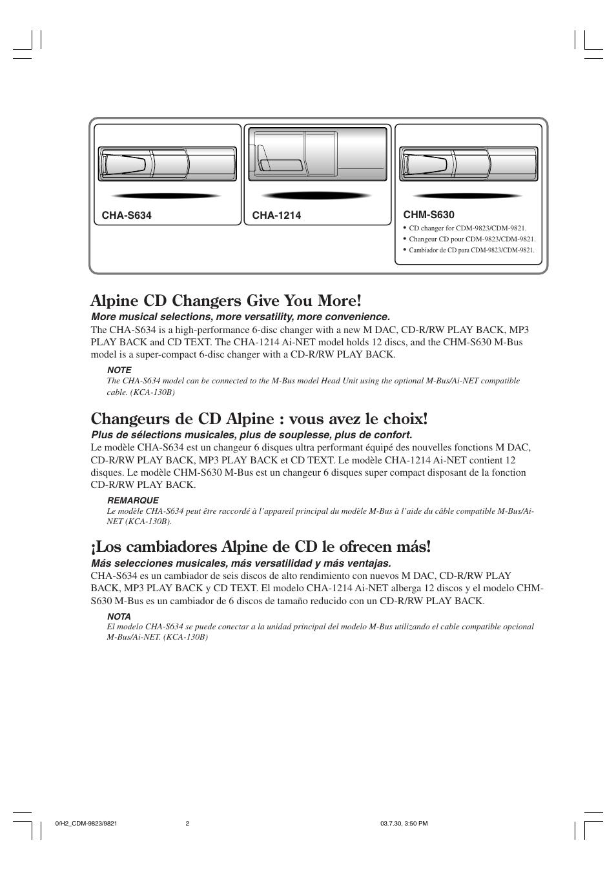 alpine cd changers give you more changeurs de cd alpine vous avez rh manualsdir com Alpine Receiver Manual Alpine CDM 9821 Manual