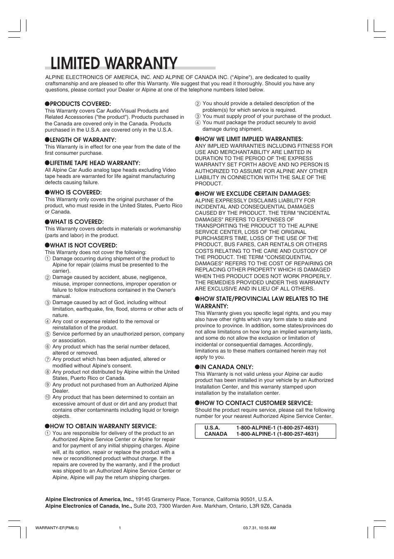 limited warranty alpine cdm 9821 user manual page 22 22 rh manualsdir com