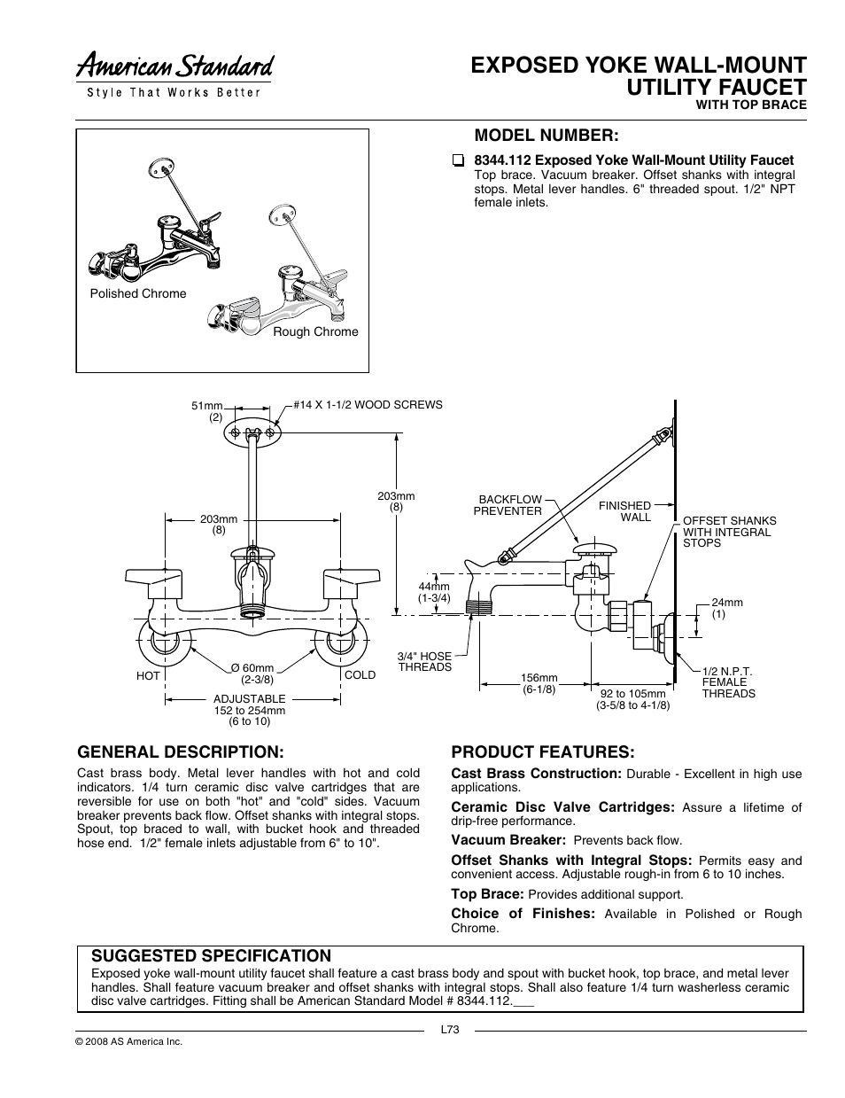 American Standard 8344 112 User Manual 2 Pages