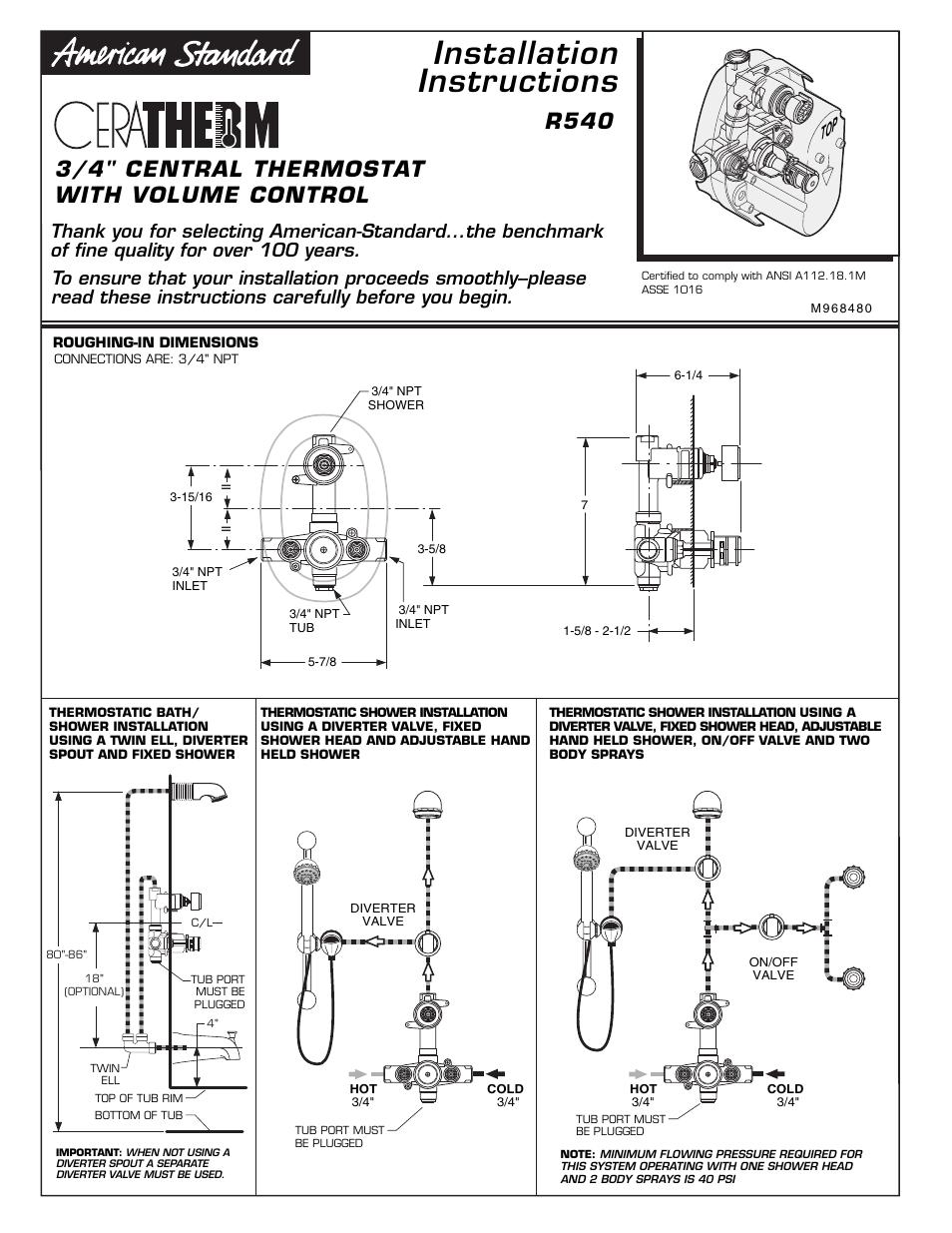 ceratherm r540 installation instructions r540 american standard rh manualsdir com american standard acont802as32daa user manual american standard furnace user manual