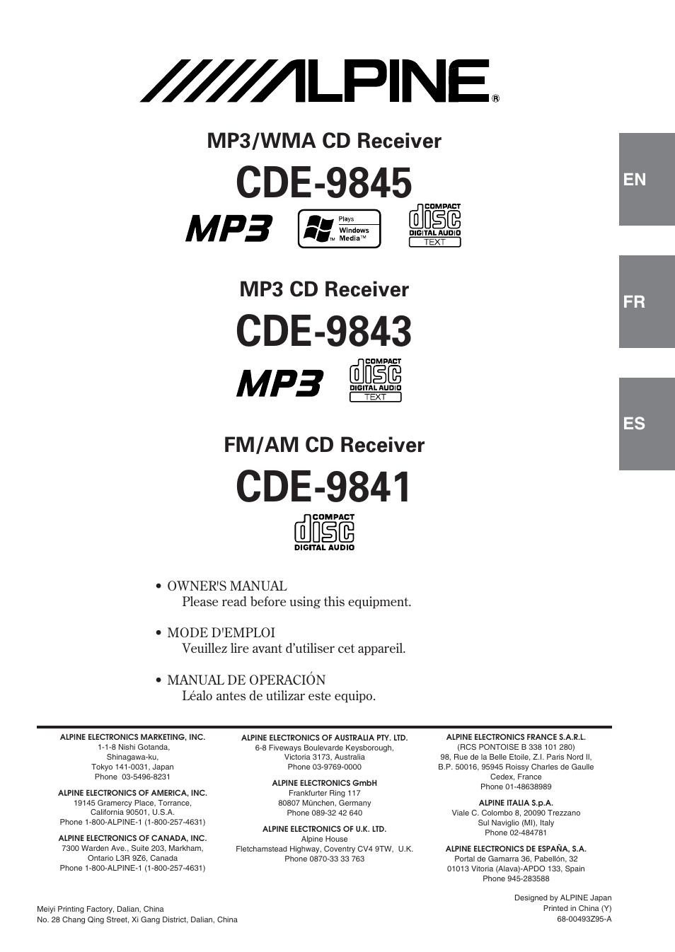 alpine cde 9843 user manual 72 pages rh manualsdir com Alpine CDE 9843 Review Alpine CDE 9843 Review