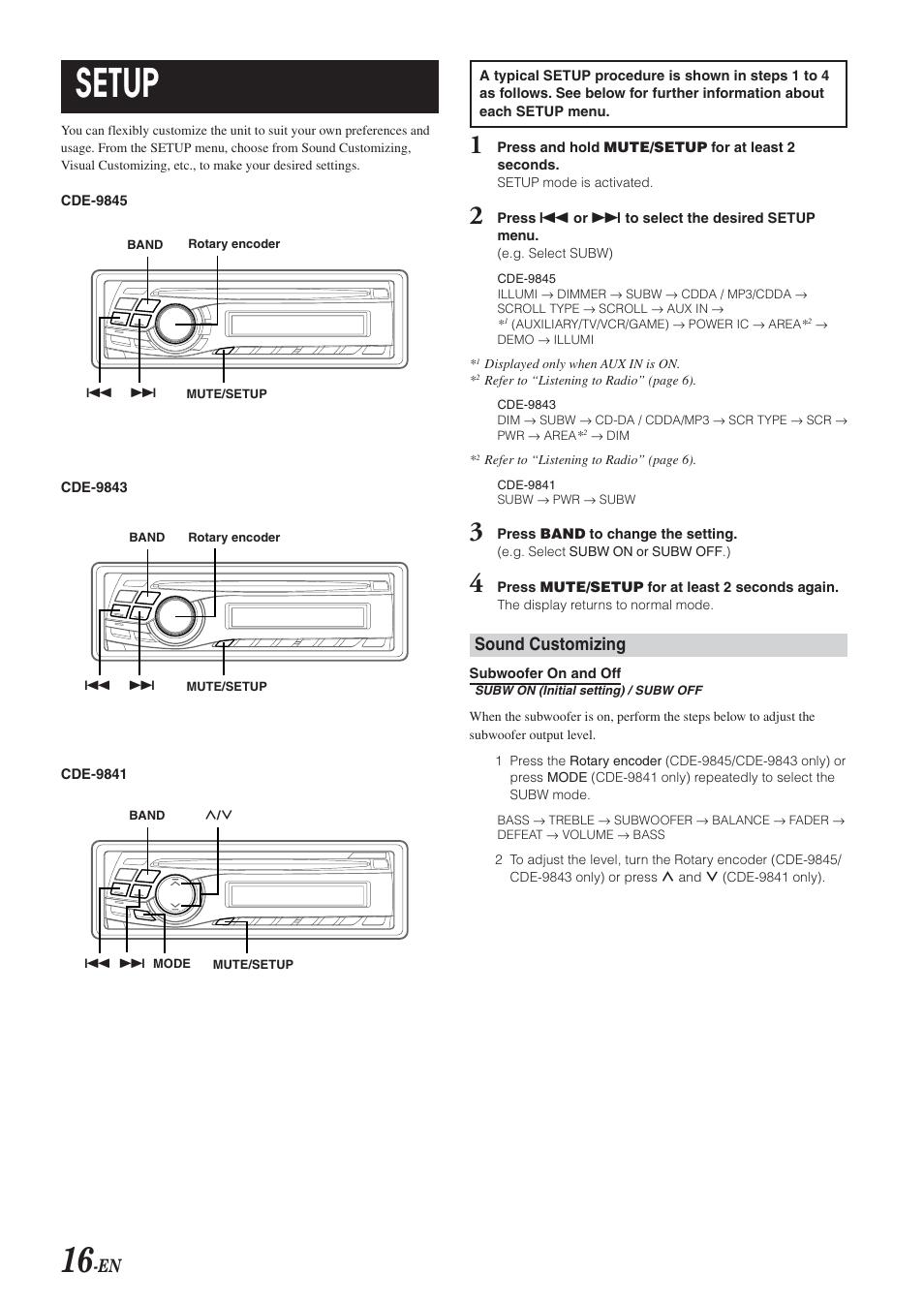 setup sound customizing alpine cde 9843 user manual page 17 rh manualsdir com alpine cde 9843r manual pdf Alpine CDE 9843 Specs