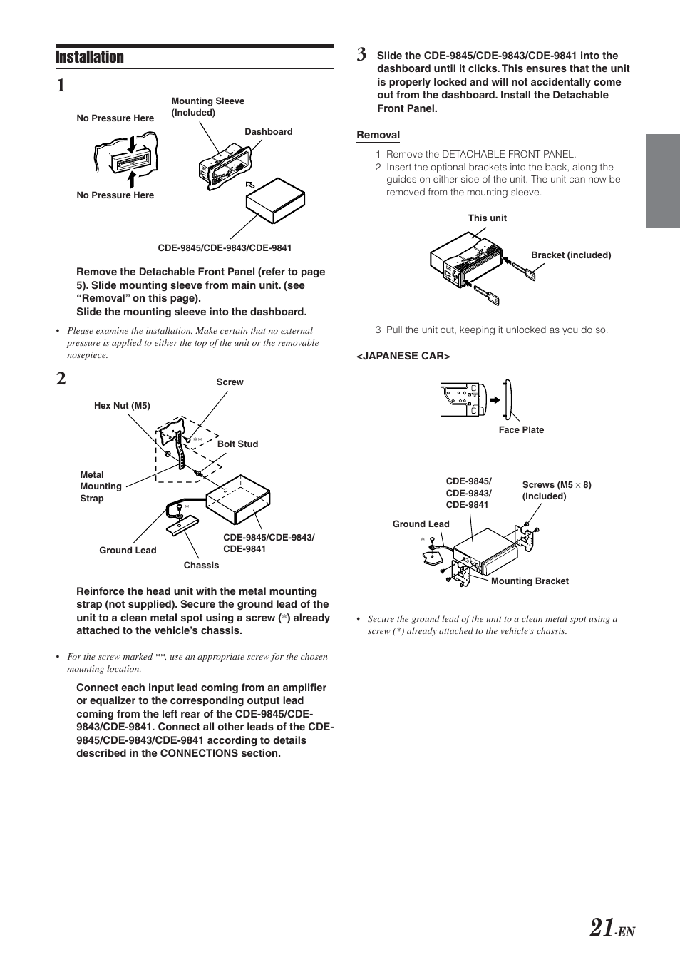 installation alpine cde 9843 user manual page 22 72 rh manualsdir com alpine cde 9843 service manual Alpine CDE 9843 Specs
