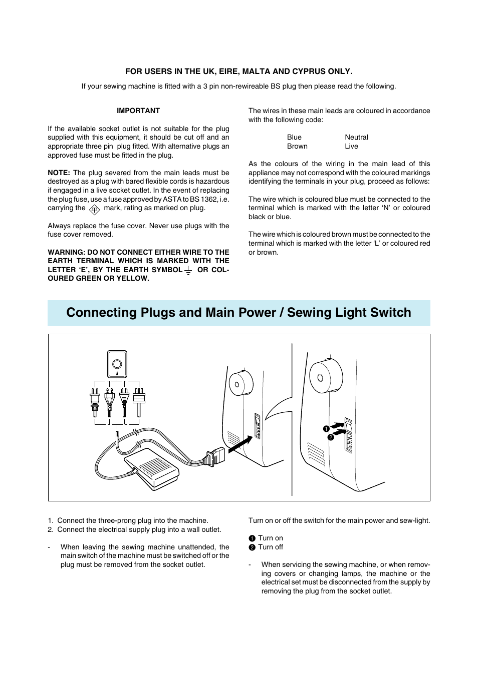 Brother Ls 1217 User Manual Page 6 81 Wiring A Plug Colours