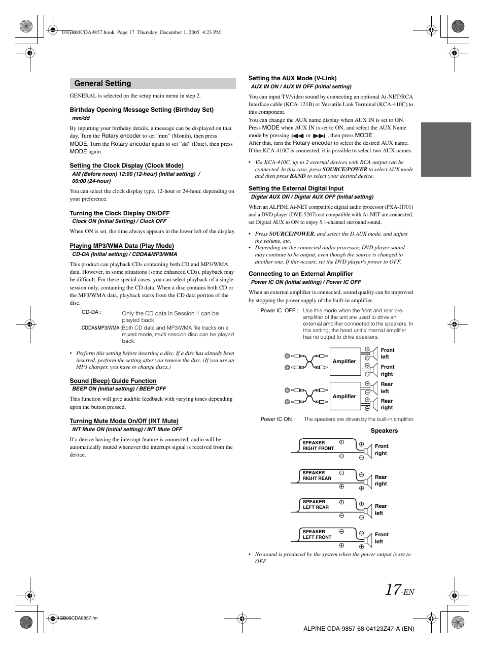 general setting alpine cda 9857 user manual page 19 38 rh manualsdir com  cda-9857r manual