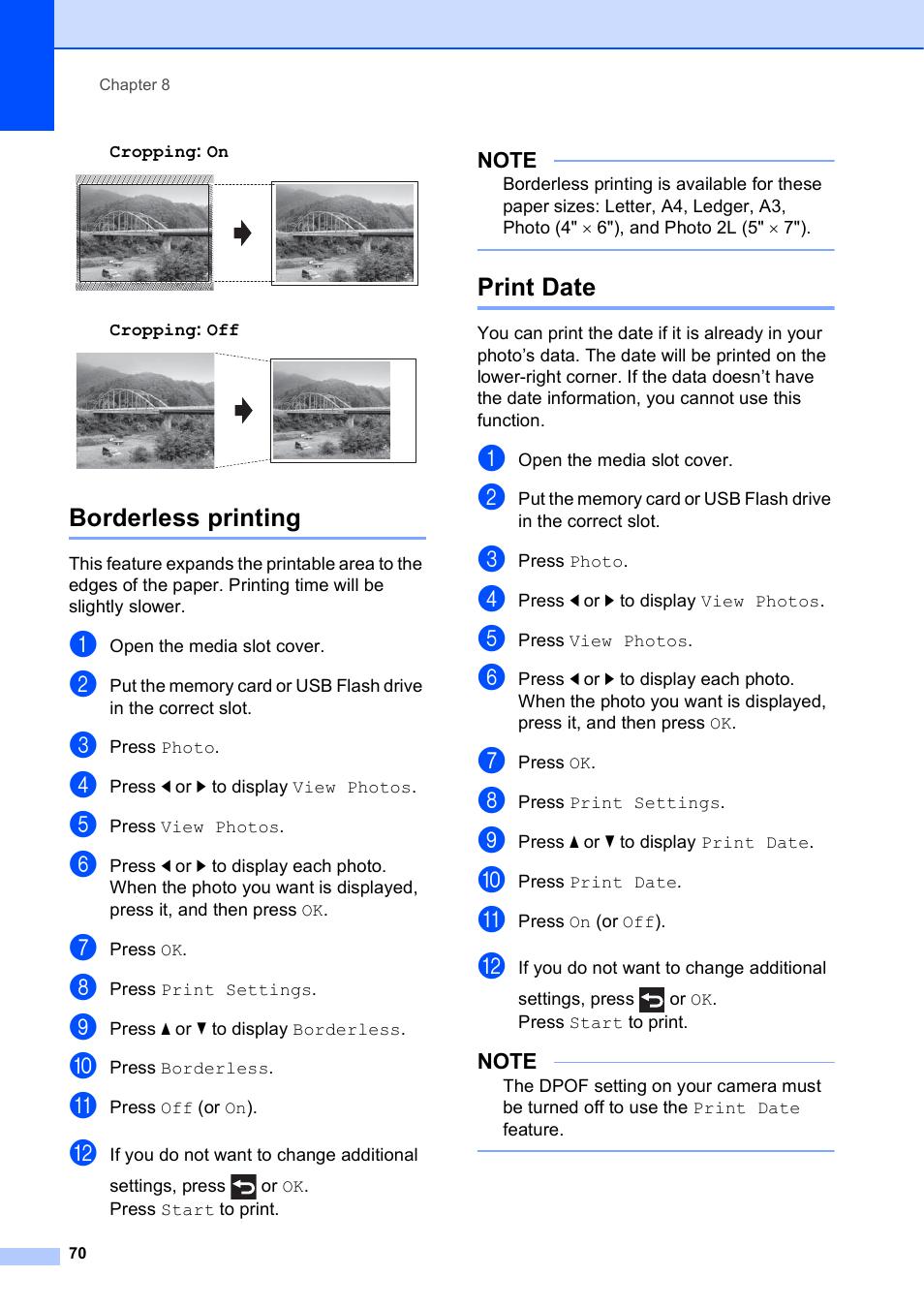 Borderless printing, Print date, Borderless printing print