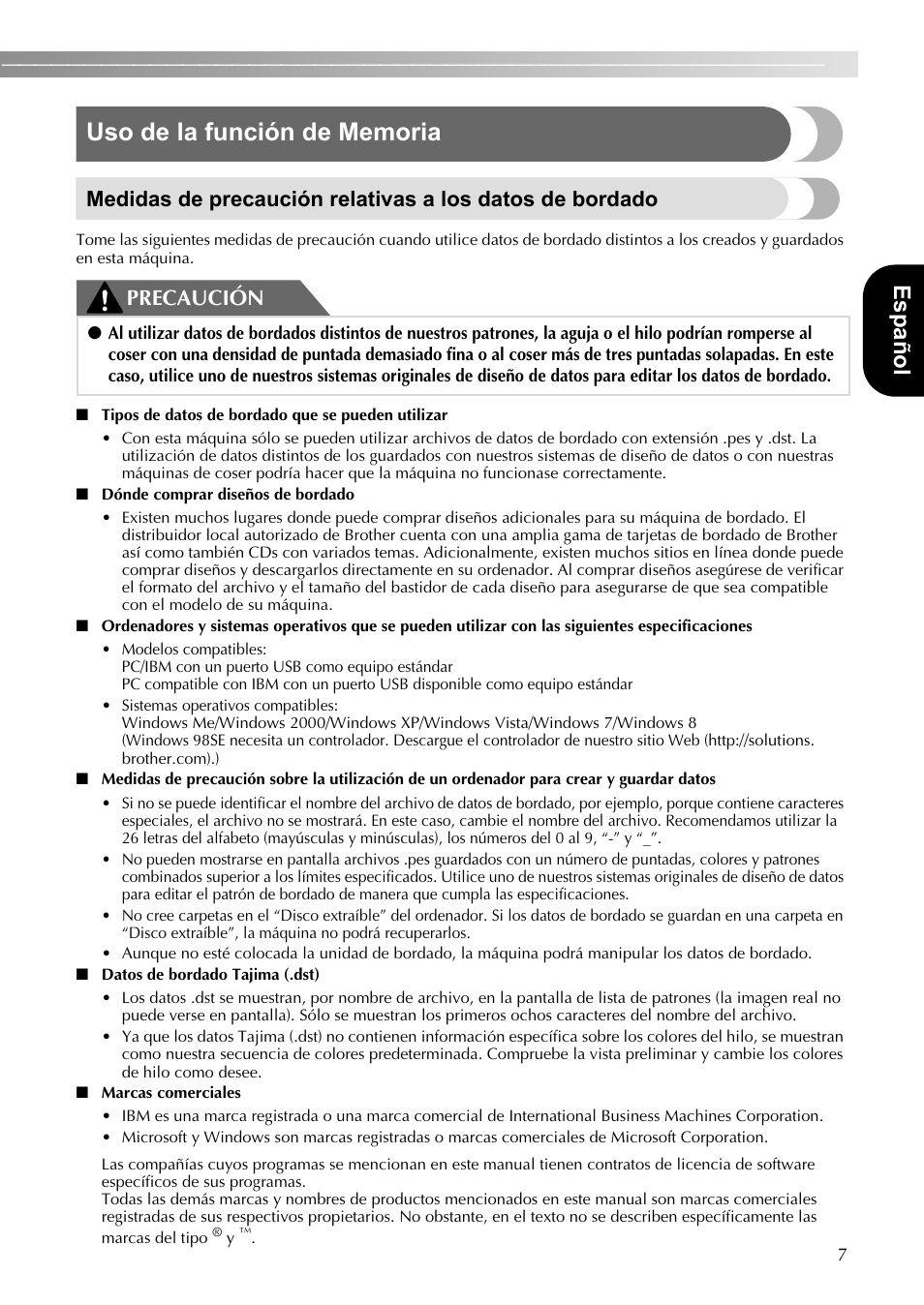 Español, Precaución | Brother SE-400 User Manual | Page 9 / 16