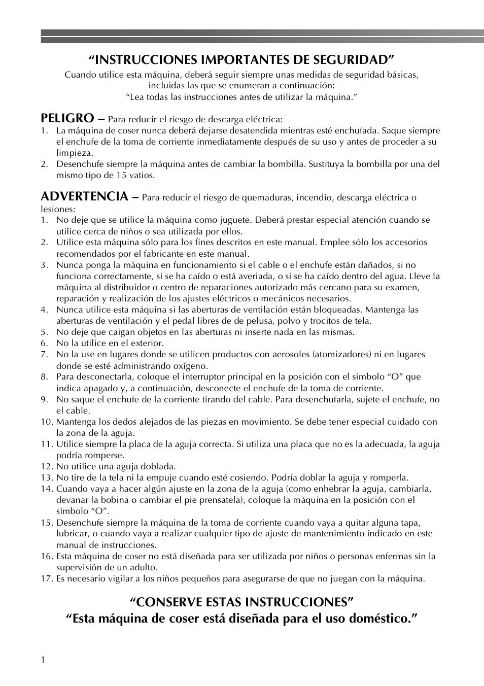Instrucciones Importantes De Seguridad  Peligro