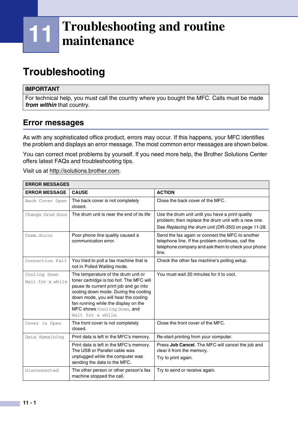 11 troubleshooting and routine maintenance, Troubleshooting