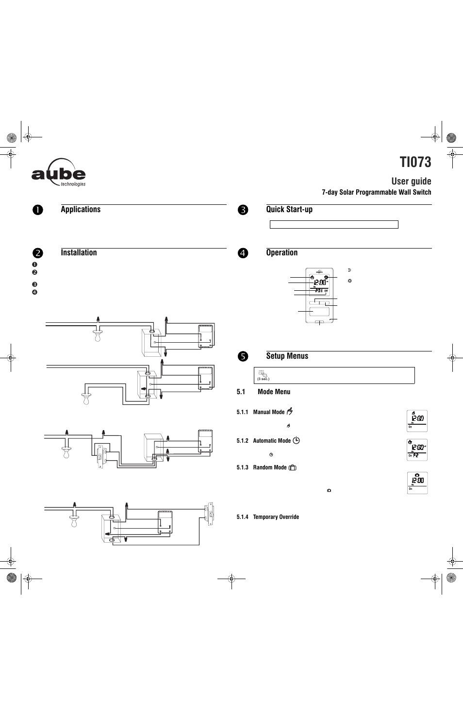 aube technologies ti073 user manual 4 pages rh manualsdir com