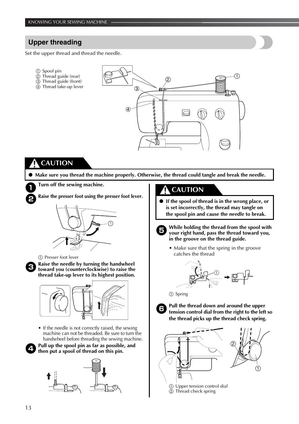 Upper Threading Caution Brother Lx2375 User Manual Page 14 96 Sewing Machine Diagram