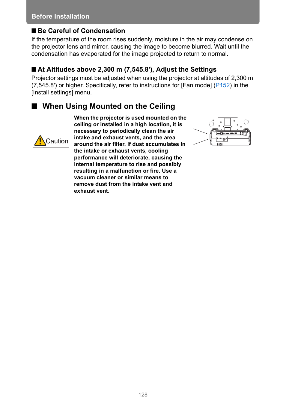 When using mounted on the ceiling | Canon XEED WUX450 User Manual | Page 128 / 314