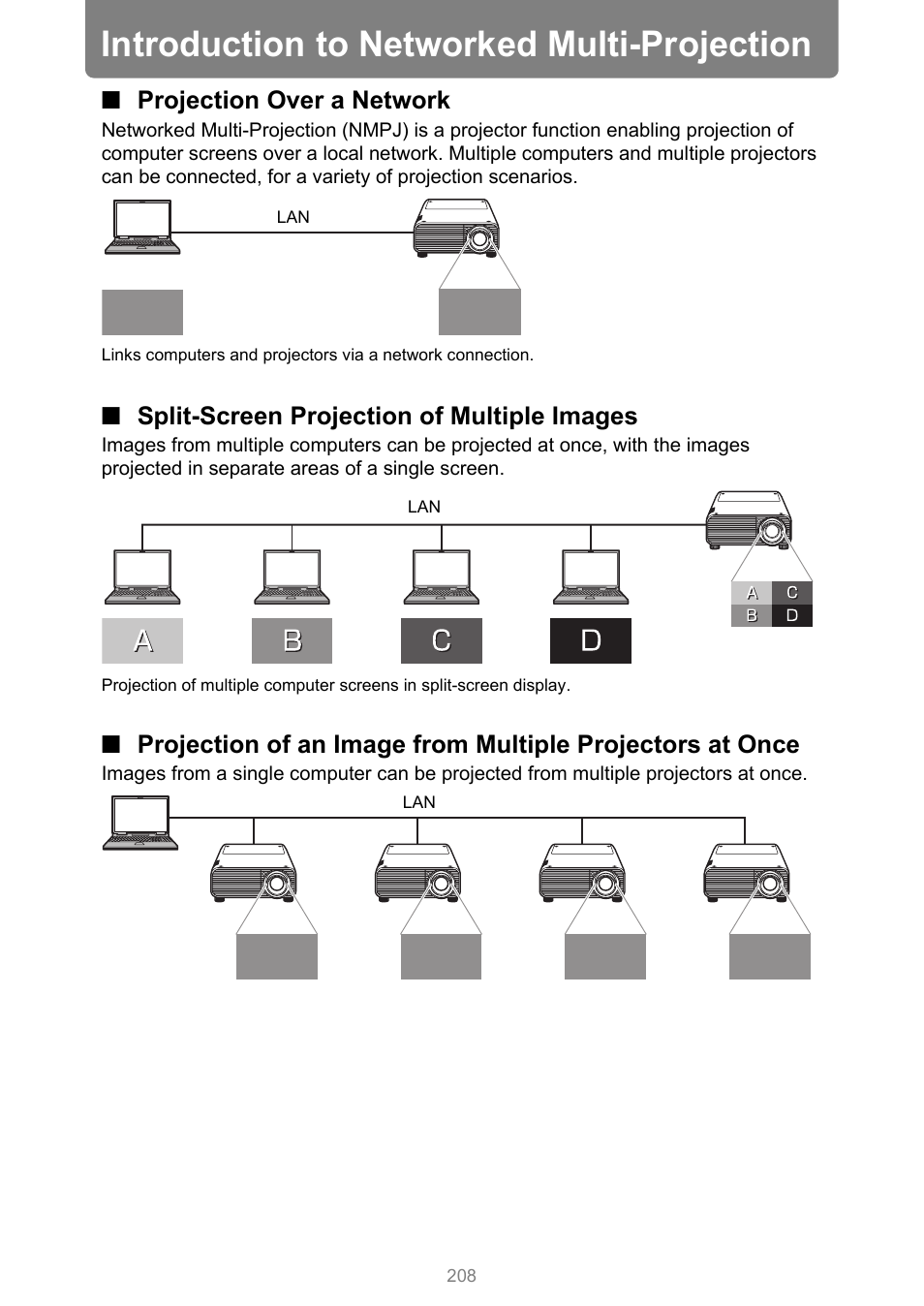 Introduction to networked multi-projection, Projection over a network, Split-screen projection of multiple images | P208 | Canon XEED WUX450 User Manual | Page 208 / 314
