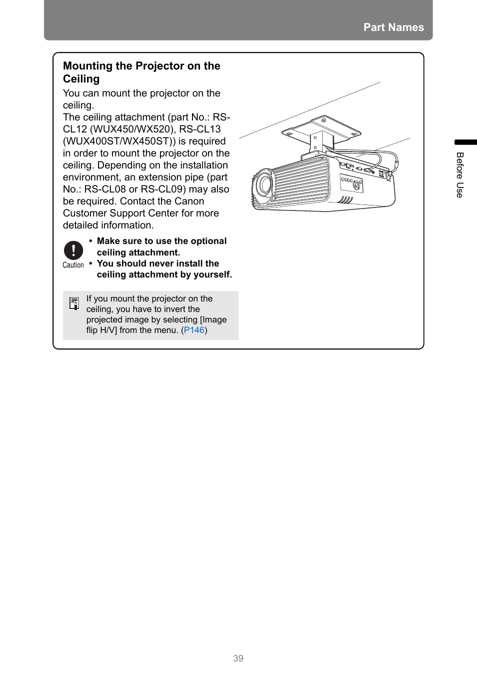 Part names, Mounting the projector on the ceiling | Canon XEED WUX450 User Manual | Page 39 / 314