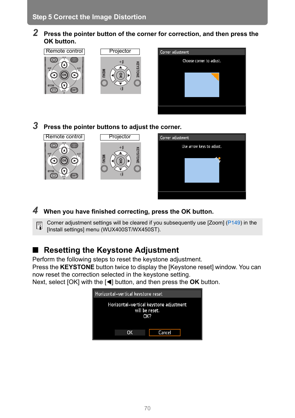 Resetting the keystone adjustment | Canon XEED WUX450 User Manual | Page 70 / 314