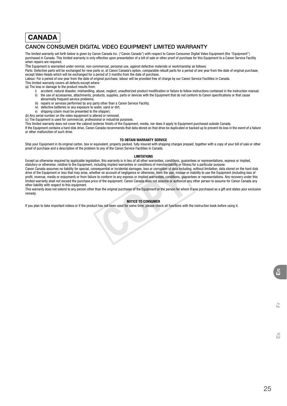 Cop y   Canon VIXIA HF G30 User Manual   Page 25 / 26   Original mode