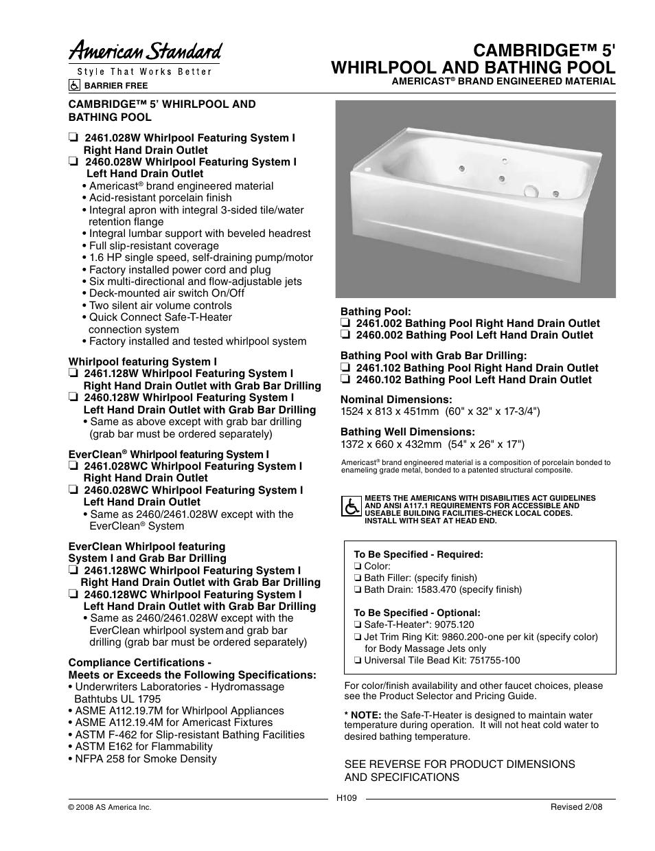 american standard cambridge 2461 102 user manual 2 pages also rh manualsdir com Standard ASTM E162 ASTM Flammability Test