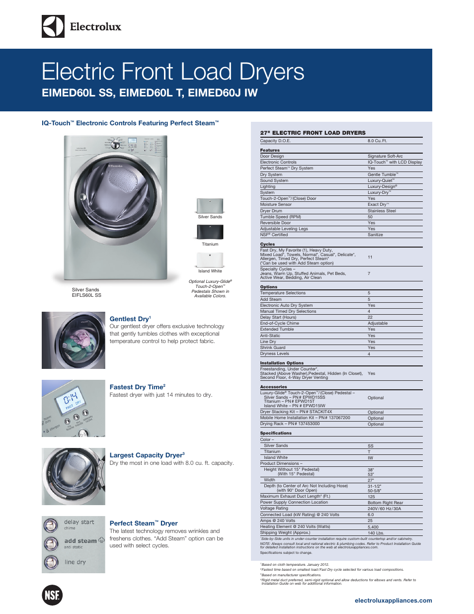 electrolux eimed60lt user manual 2 pages rh manualsdir com Electrolux Dryer Recalls Electrolux Dryer Recalls