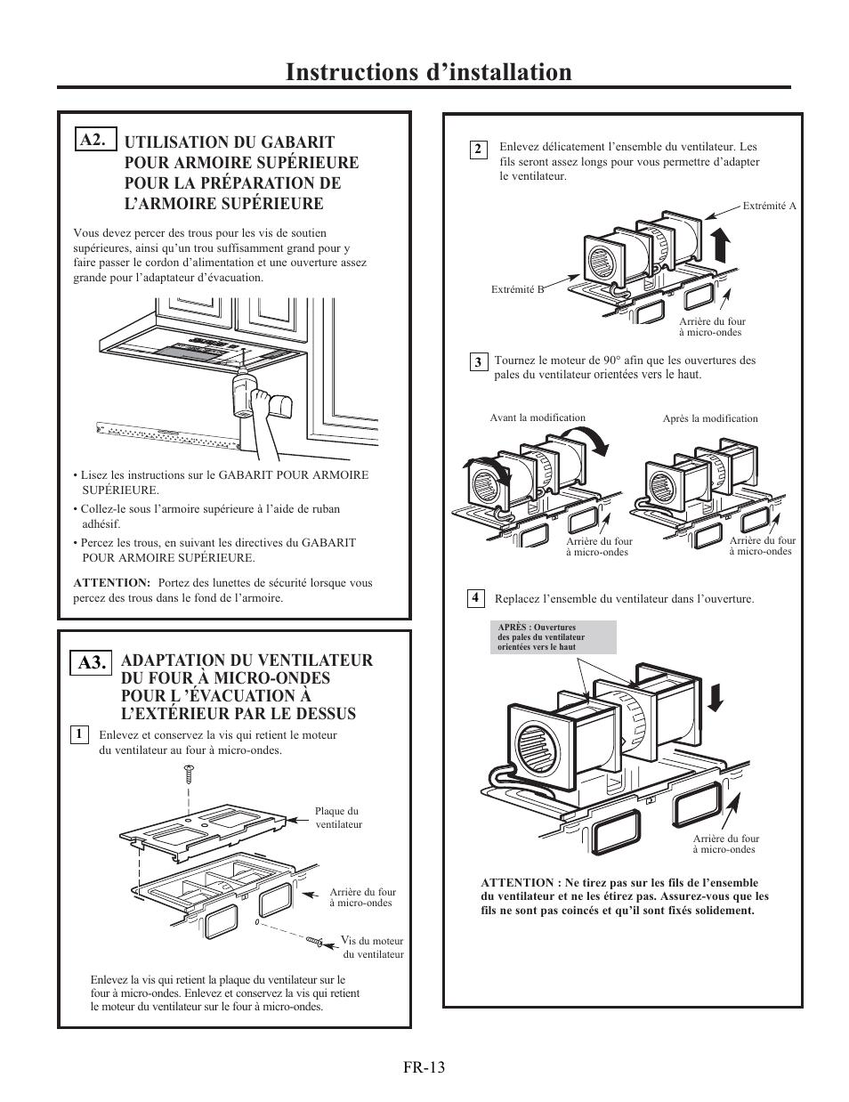 Micro Onde Au Dessus Du Four instructions d'installation, fr-13 | electrolux ei30bm60ms