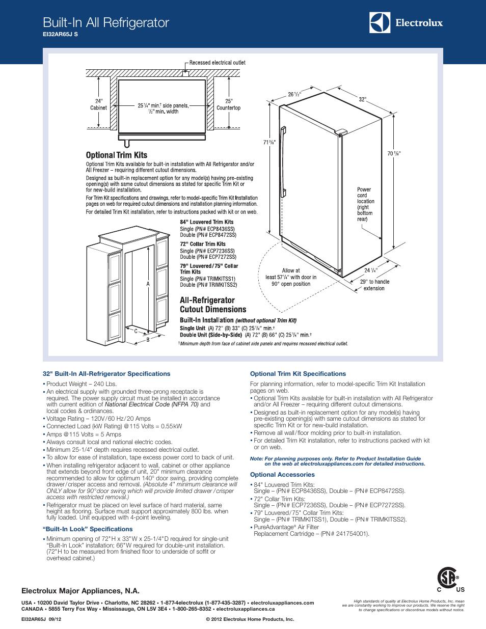 Built-in all refrigerator, Electrolux major appliances, n.a | Electrolux  EI32AR65JS User Manual