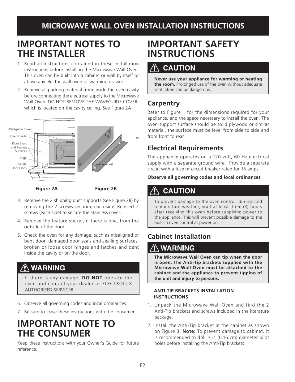 Important Safety Instructions Microwave Wall Oven Installation Built In Wiring Carpentry Electrolux Ew30so60ls User Manual Page 2 12