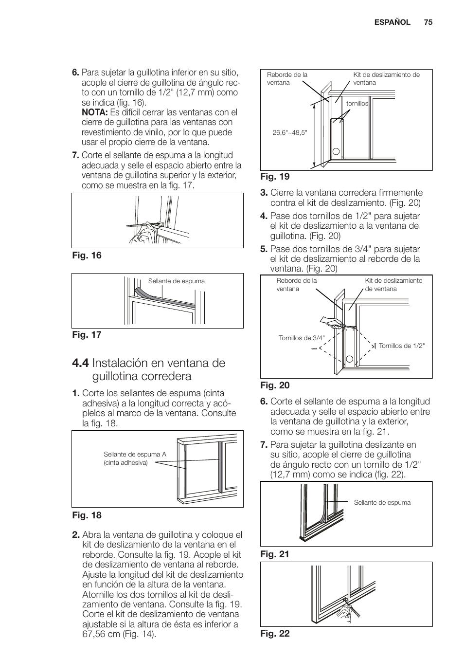4 instalación en ventana de guillotina corredera | Electrolux ...
