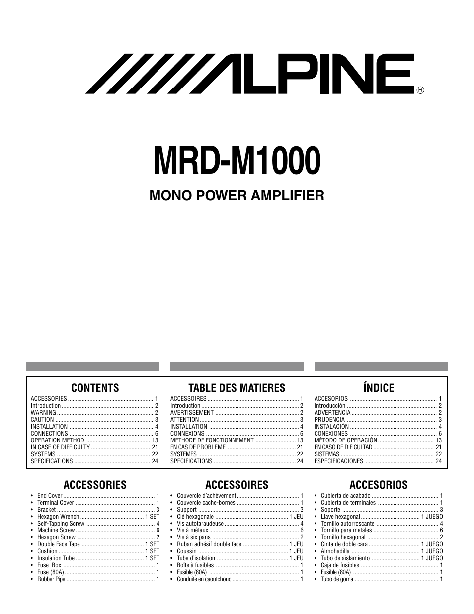 Alpine MRD-M1000 User Manual | 32 pages