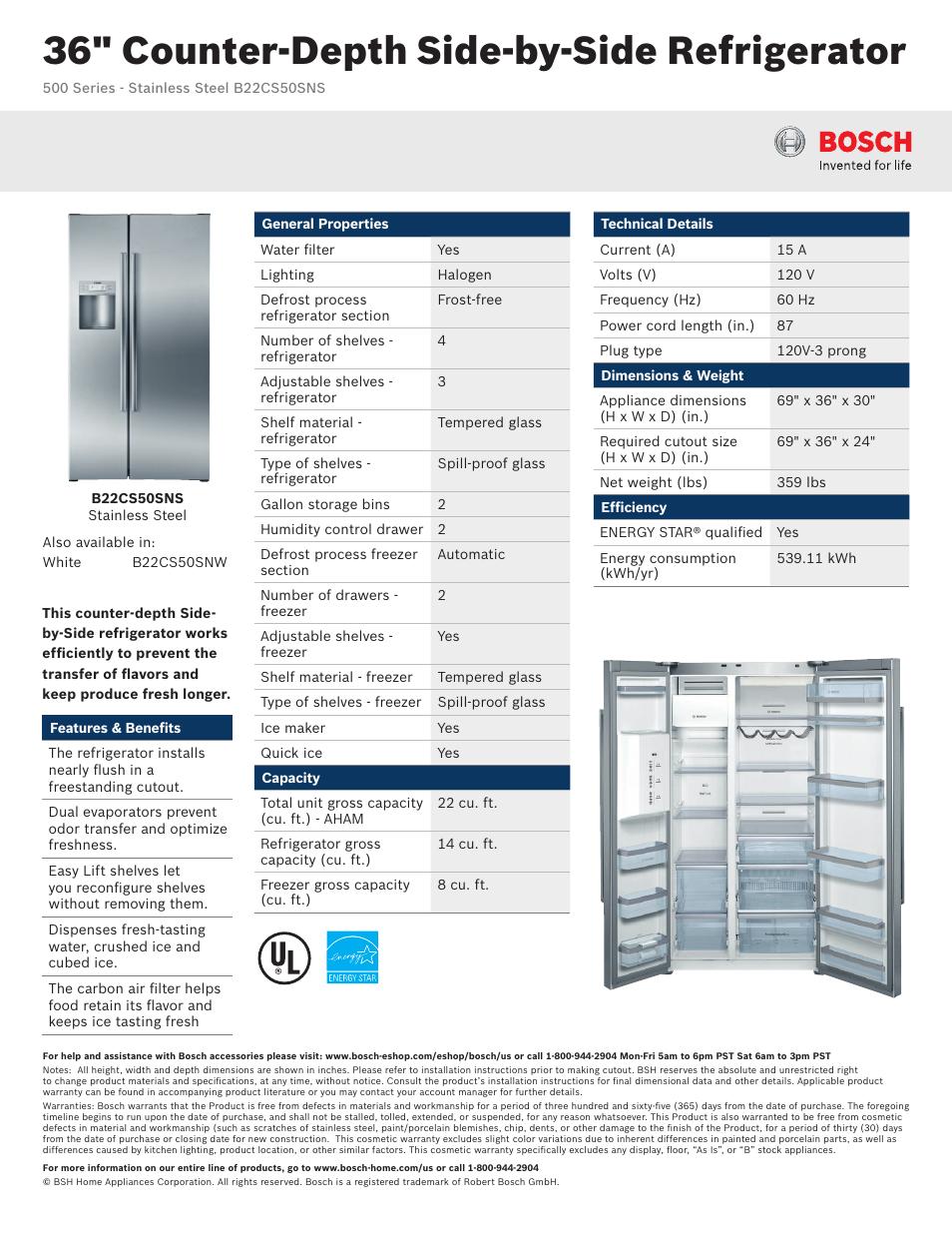 bosch b22cs50sns user manual 2 pages rh manualsdir com Bosch Side by Side Refrigerator Bosch Linea