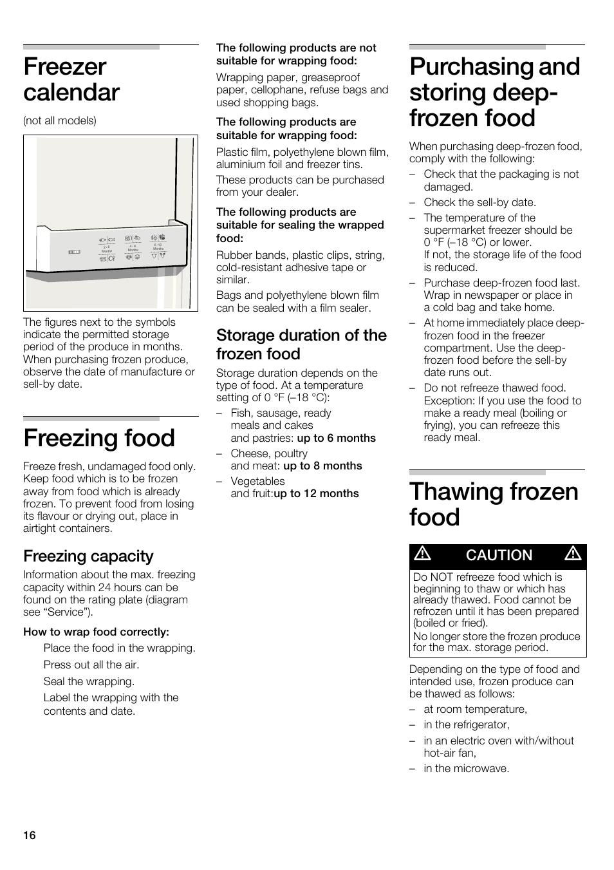 Freezer calendar, Freezing food, Purchasing and storing deep- frozen food | Bosch  B22CS30SNS User Manual | Page 16 / 76