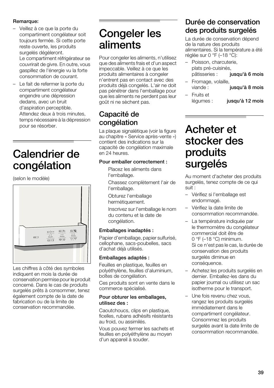 Calendrier de congélation, Congeler les aliments, Acheter et stocker des  produits surgelés | Capacité