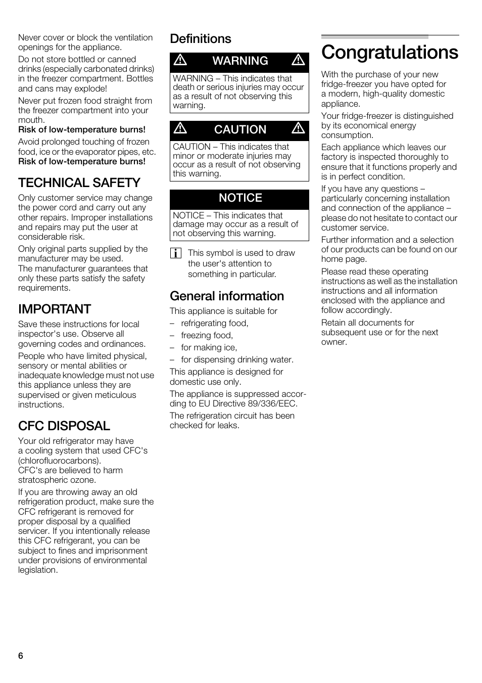 Technical safety, Important, Cfc disposal | Definitions, General  information, Warning, Caution