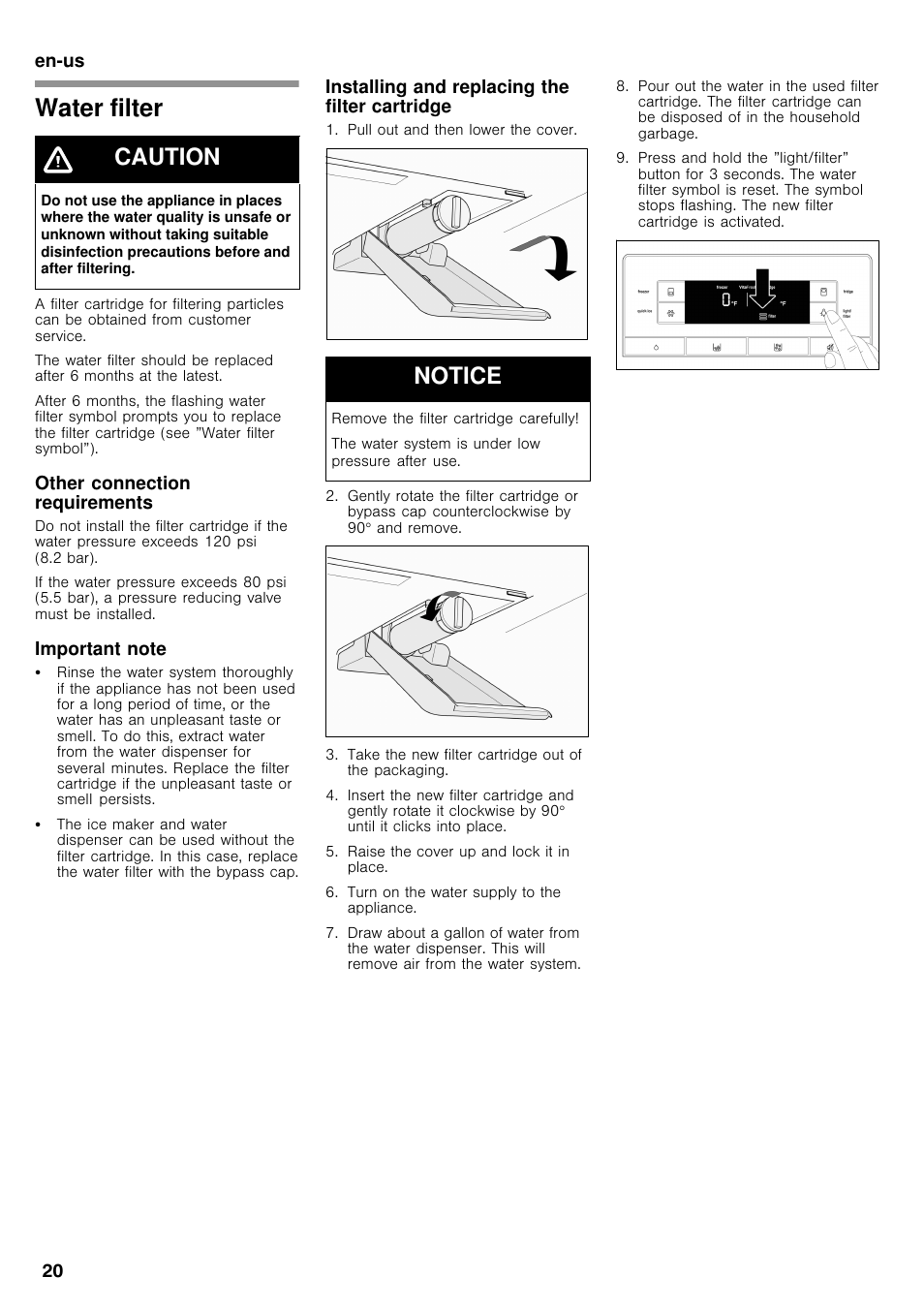 Water Filter Caution Notice Bosch B26ft70sns User Manual Page