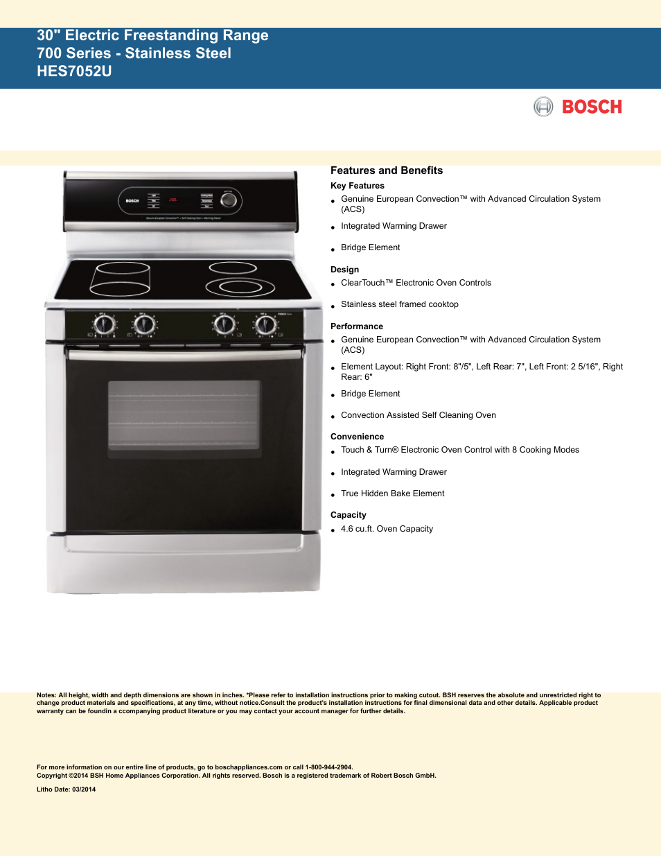 Bosch Hes7052u User Manual 2 Pages