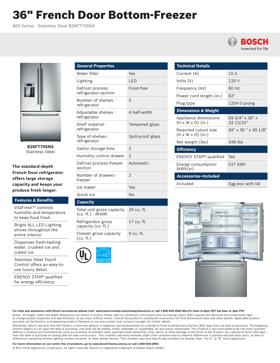 Bosch B26ft70sns User Manual 2 Pages