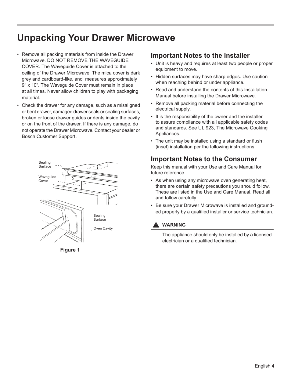 Unpacking Your Drawer Microwave Bosch Hmd8451uc User Manual Page 4 24