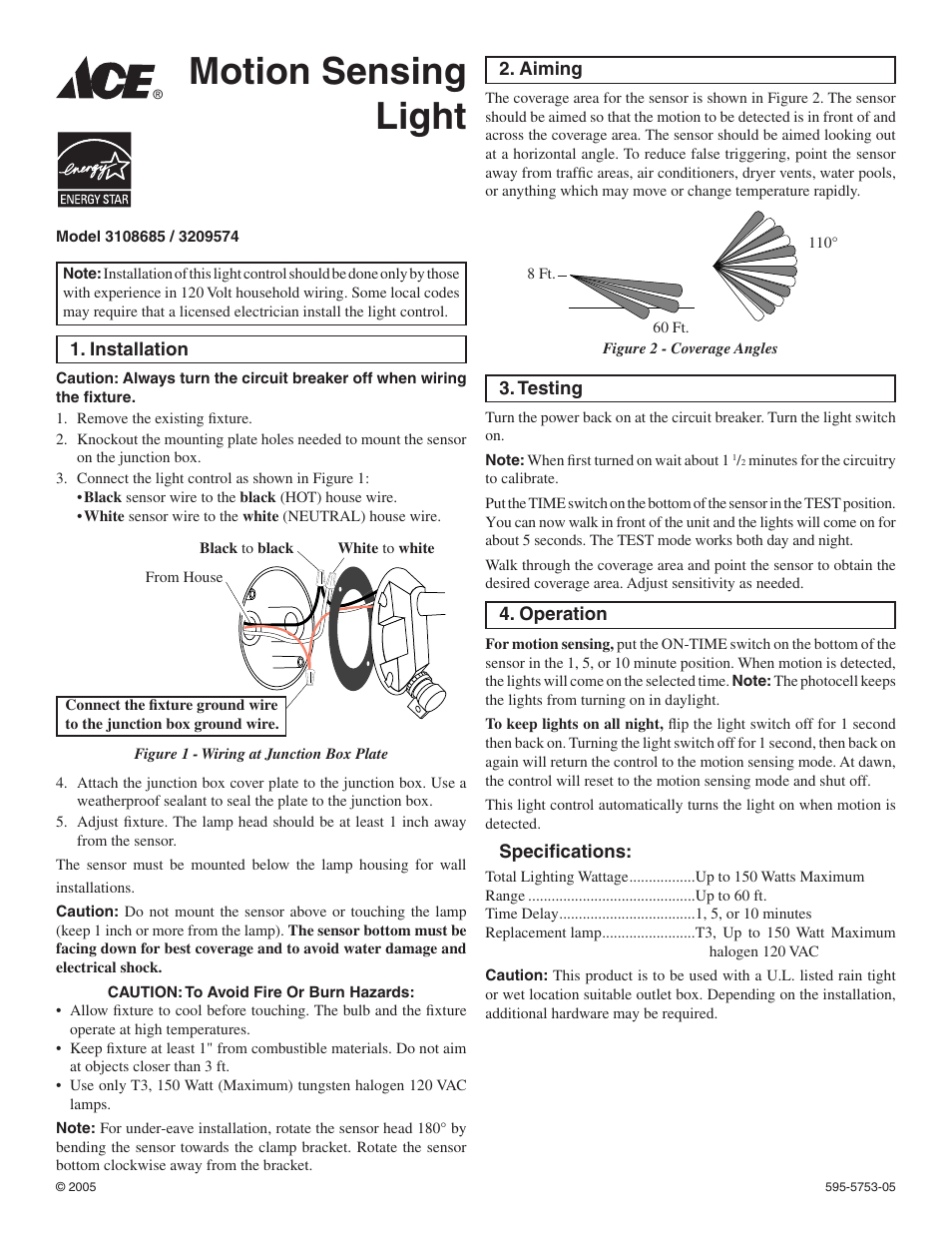Ace Hardware 3108685 User Manual 2 Pages Also For 3209574 Wiring Photosensorphotocellpng