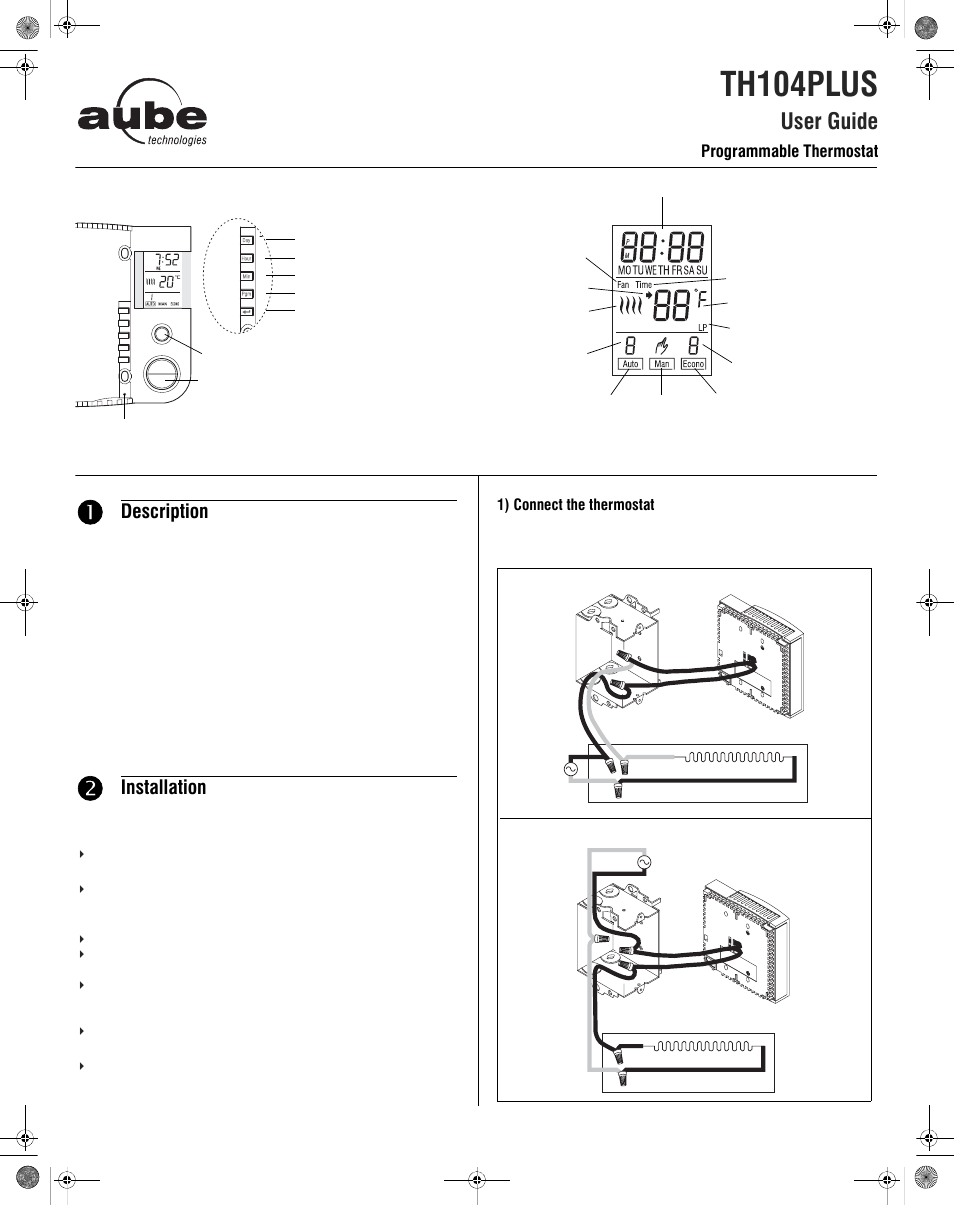Aube Technologies Th104plus User Manual 4 Pages