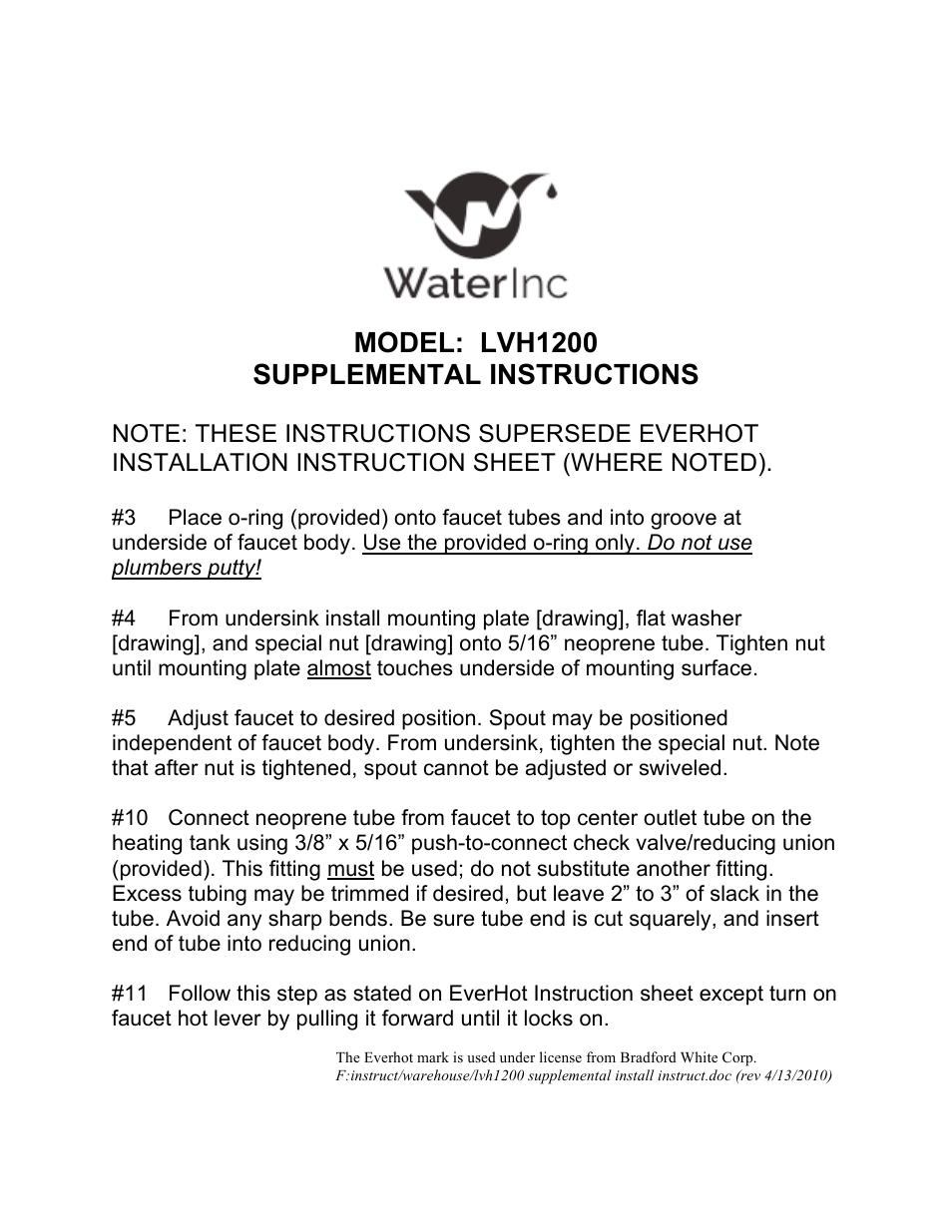Water Inc LVH1200 User Manual | 1 page