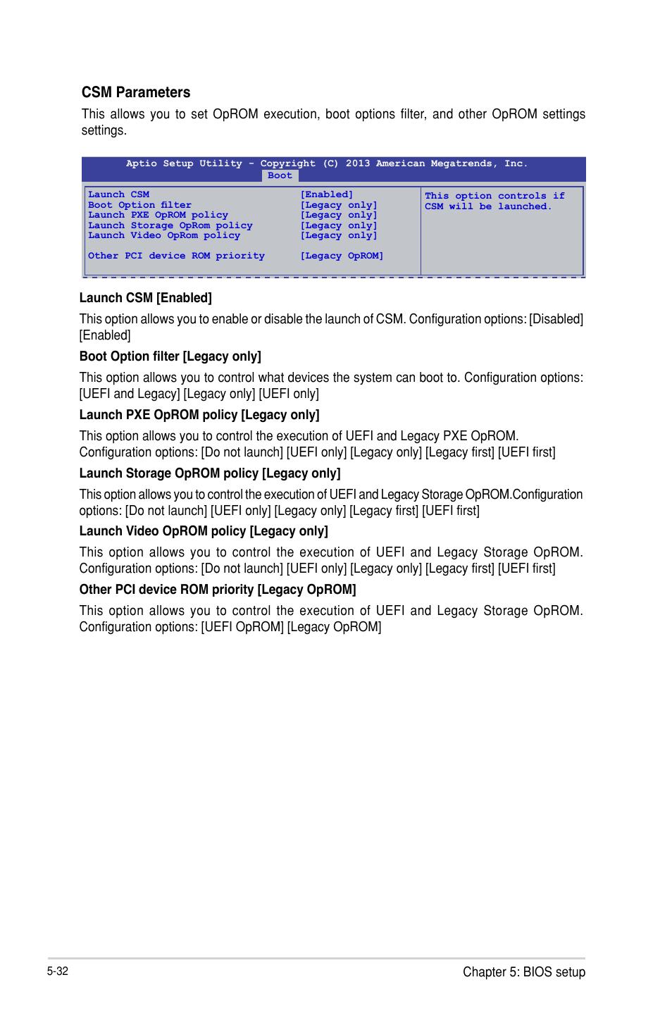 Csm parameters, Chapter 5: bios setup | Asus TS300-E8-PS4