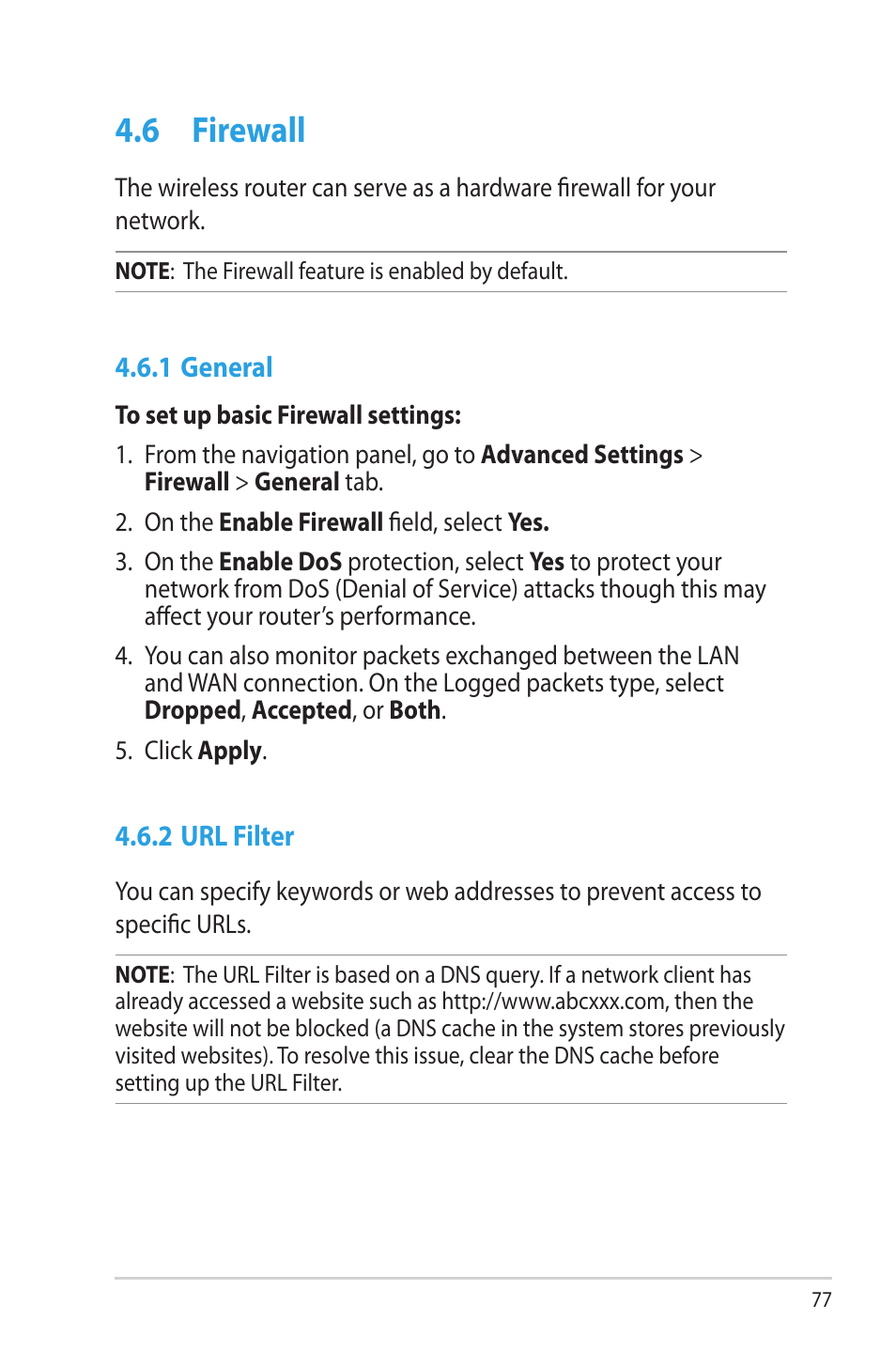 6 firewall, 1 general, 2 url filter | Asus RT-AC68U User