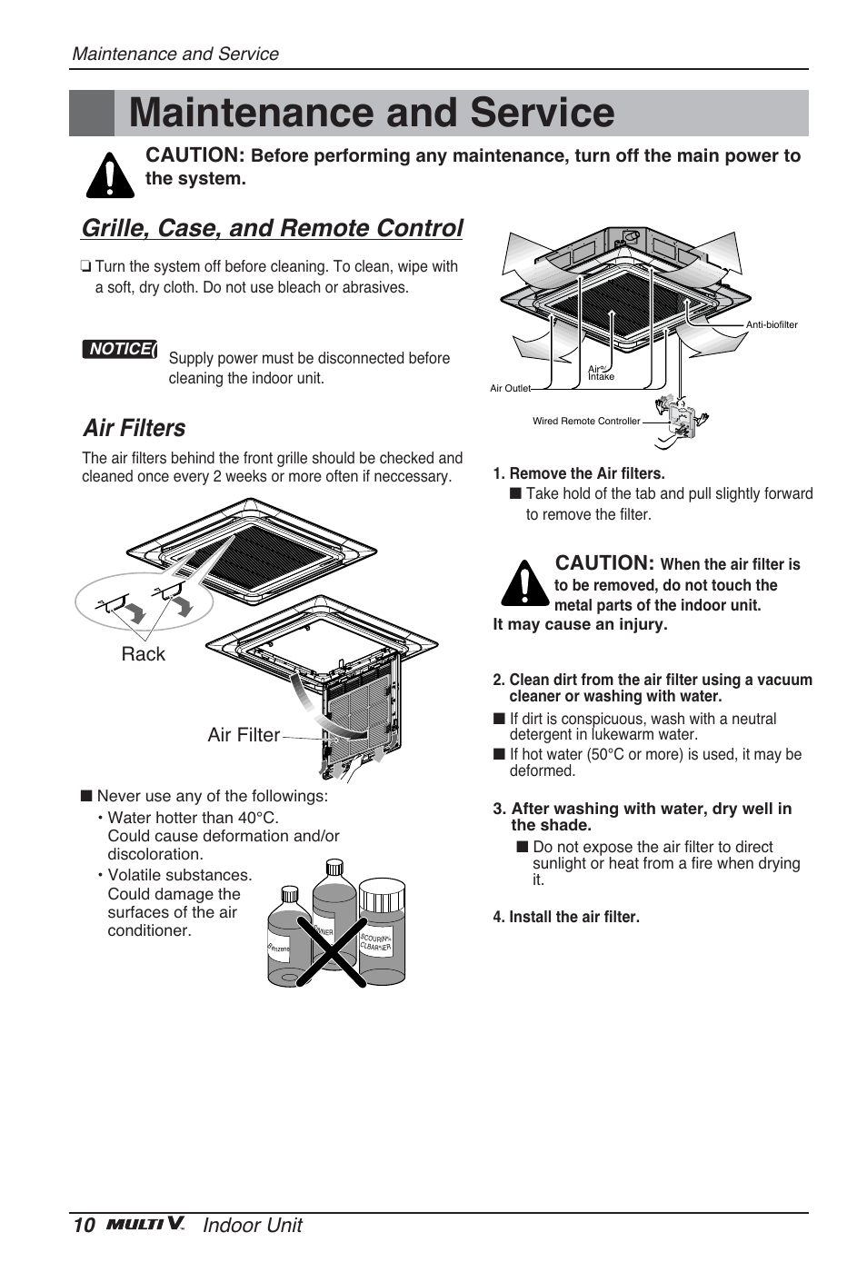 Maintenance and service, Grille, case, and remote control, Air