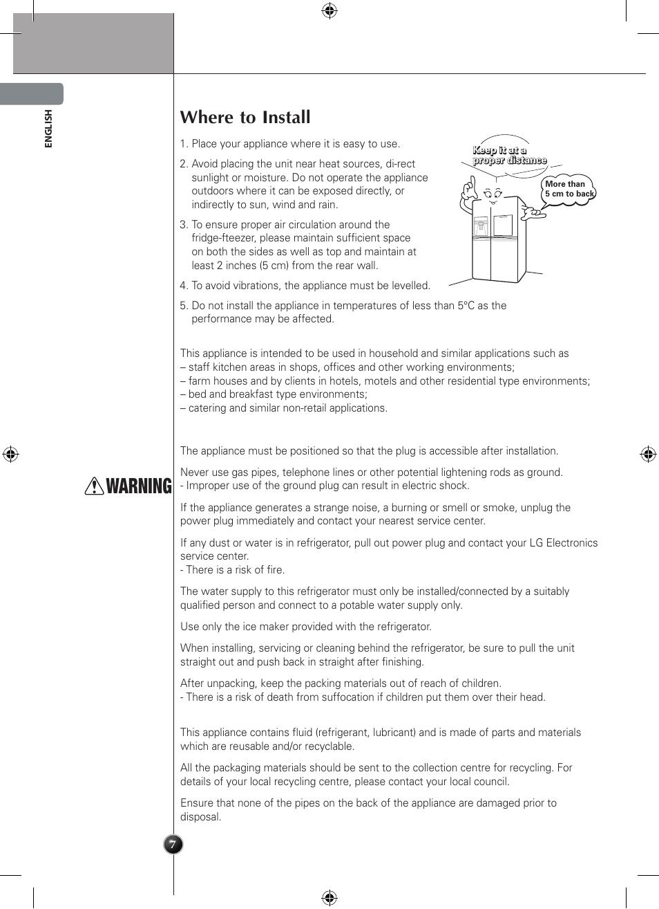 Warning, Where to install, Installation | LG GSL545NSQV User Manual