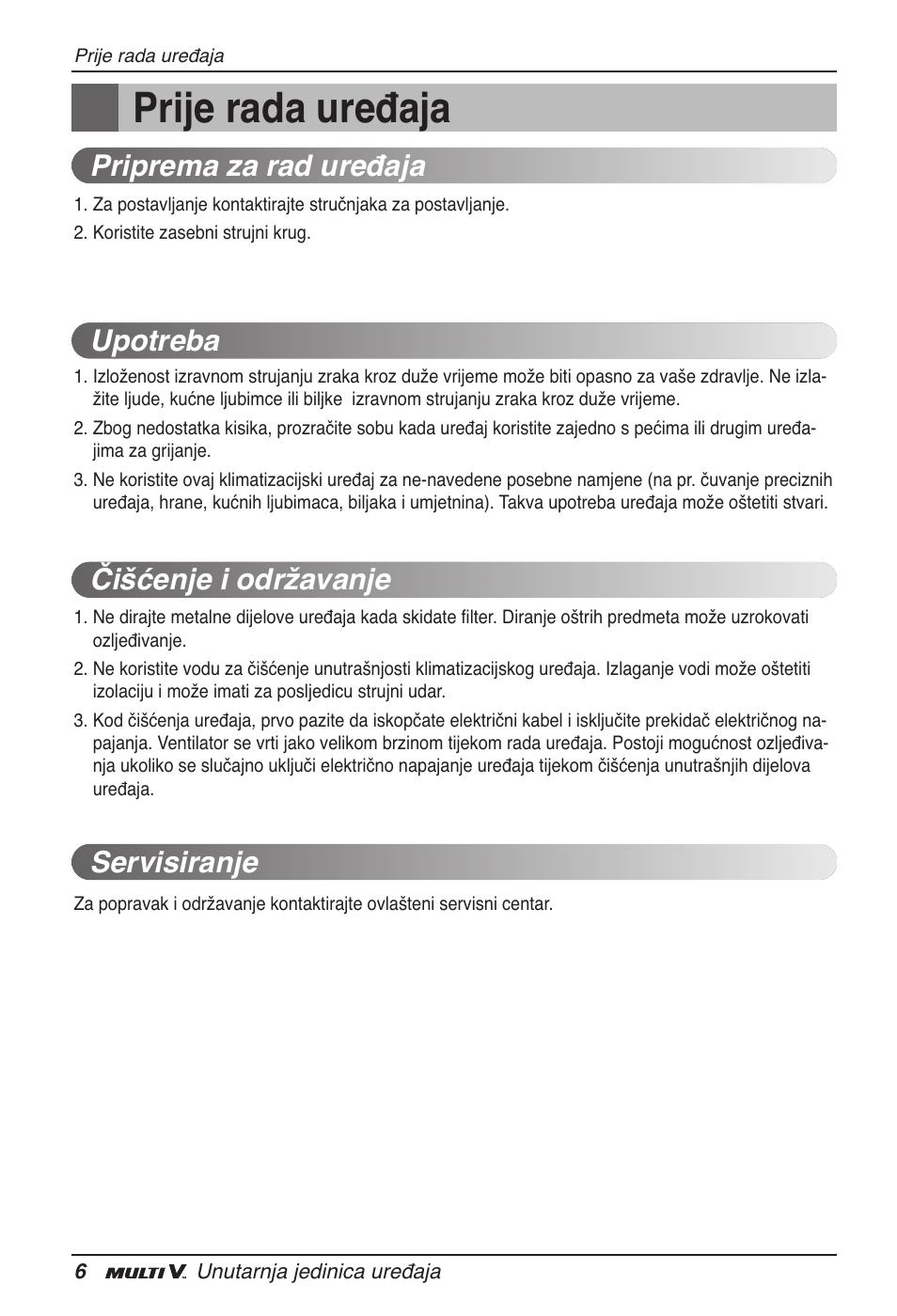 Prije rada uređaja | LG ARNU15GSER2 User Manual | Page 174