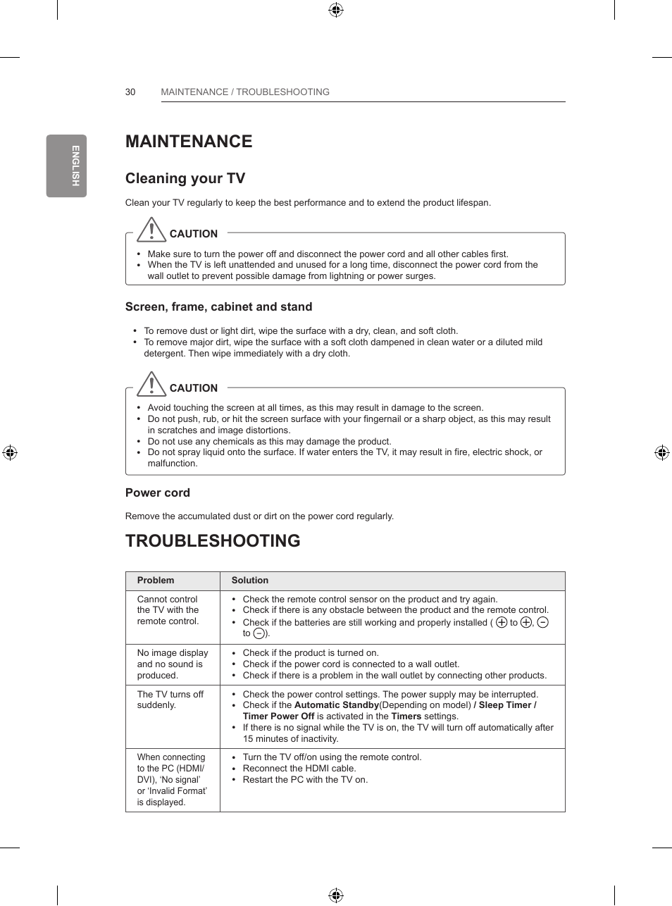Maintenance, Troubleshooting, Cleaning your tv | LG 55LB700V User