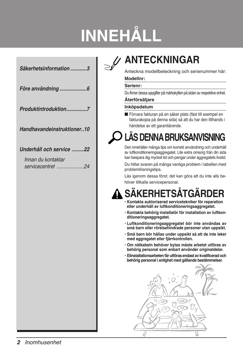 Innehåll, Anteckningar, Läs denna bruksanvisning | Säkerhetsåtgärder | LG  UB60 User Manual | Page