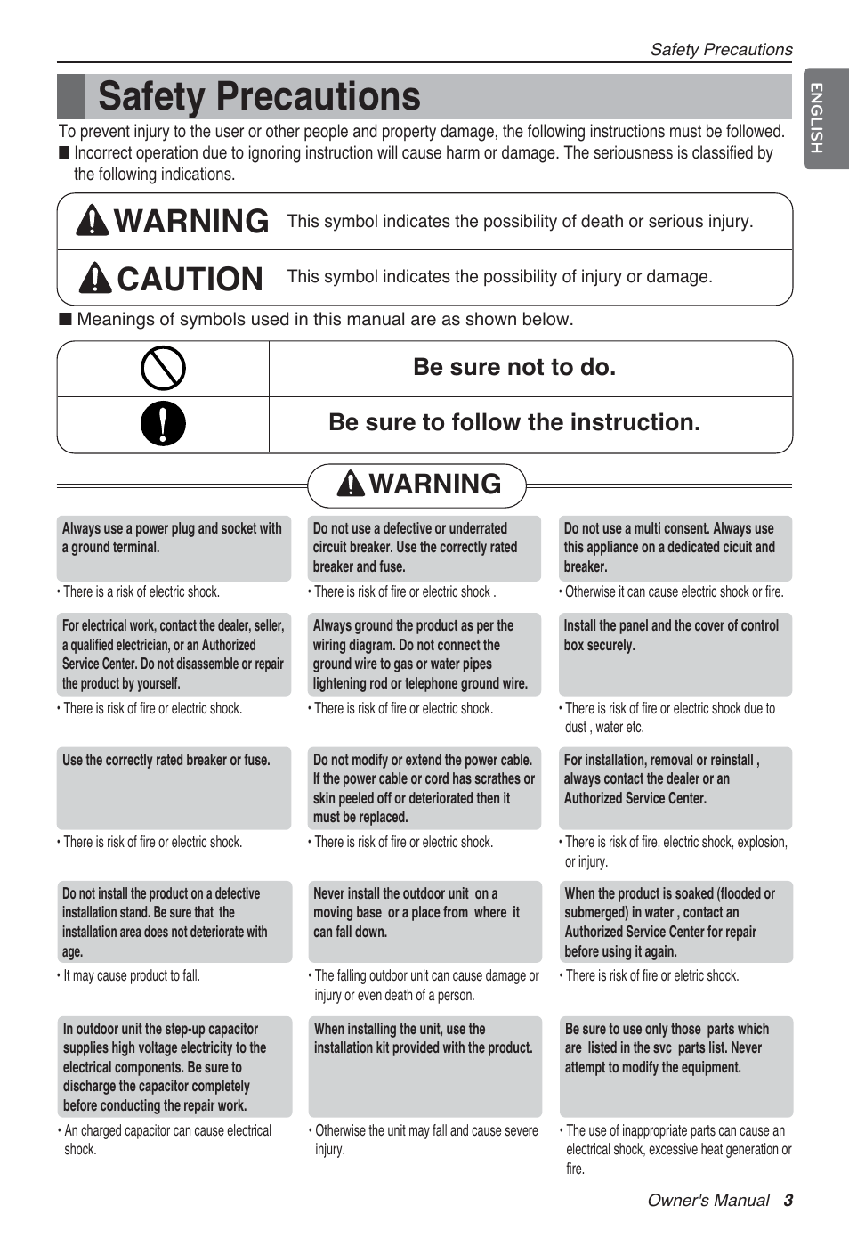 Safety precautions, Warning caution, Warning | LG MA09AH1 User ...