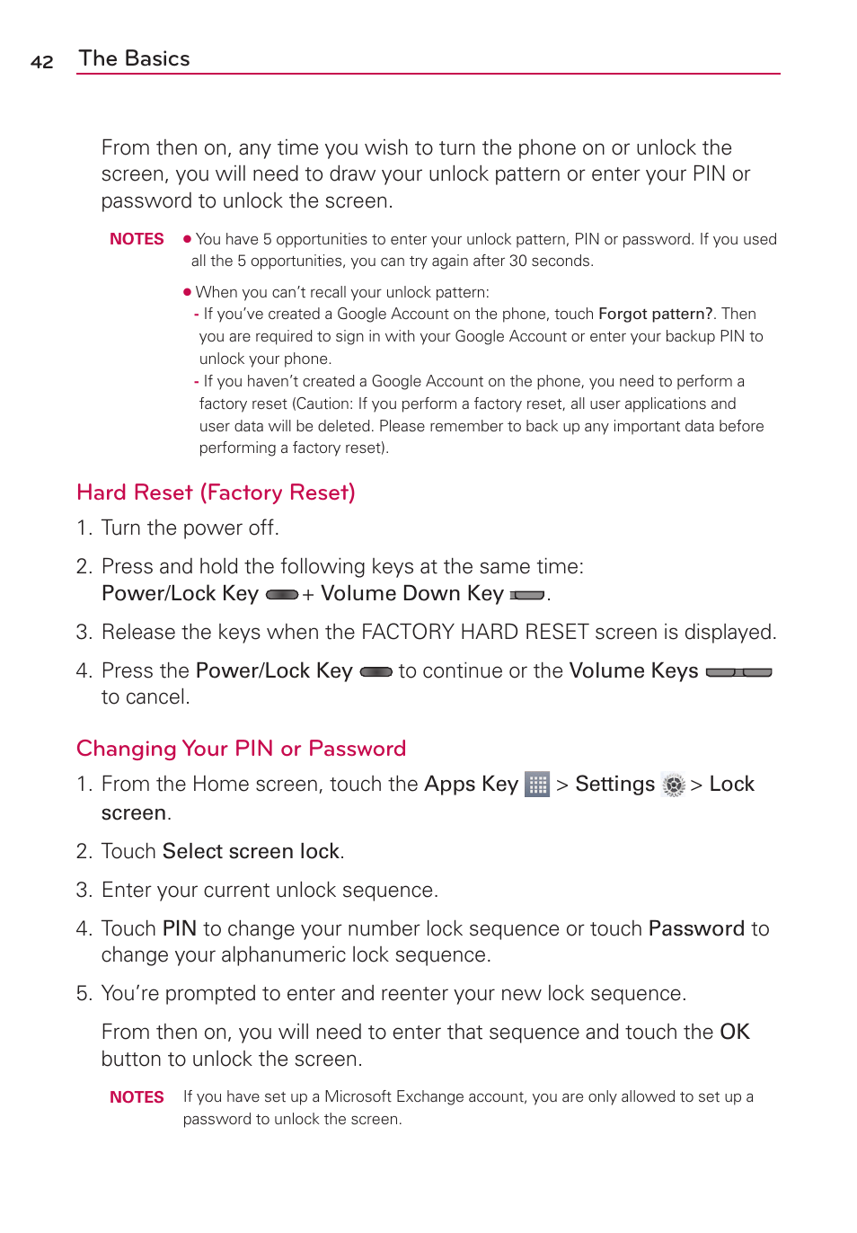 The basics, Hard reset (factory reset), Changing your pin or