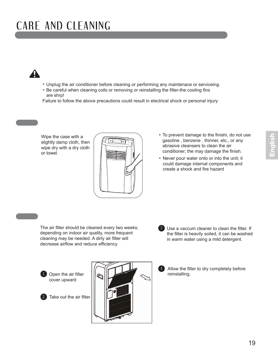 cleaning the case cleaning the air filter warning lg lp1010snr rh manualsdir com LG LP1010SNR Review LG 1010 Snr